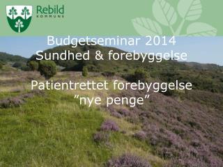 Budgetseminar 2014 Sundhed & forebyggelse Patientrettet forebyggelse �nye penge�