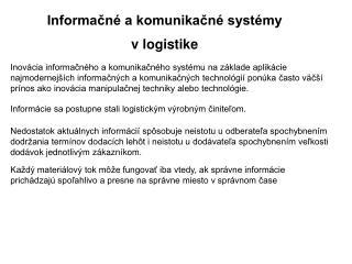 Informačné a komunikačné systémy vlogistike