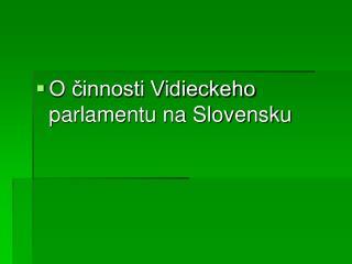 O činnosti Vidieckeho parlamentu na Slovensku