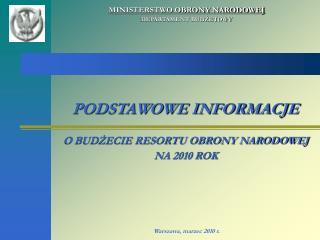 MINISTERSTWO OBRONY NARODOWEJ DEPARTAMENT BUDŻETOWY