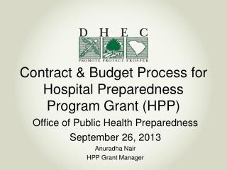 Contract & Budget Process for Hospital Preparedness Program Grant (HPP)