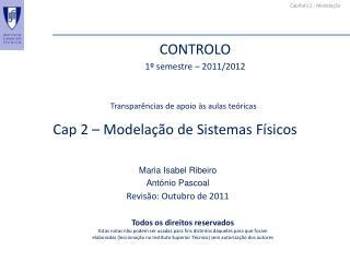 Cap  2 –  Modelação  de Sistemas Físicos