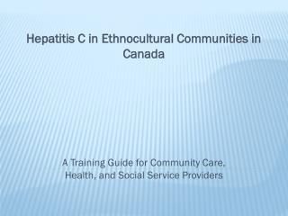 A Training Guide for Community Care, Health, and Social Service Providers