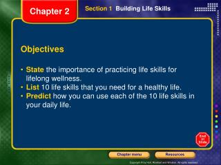 Section 1   Building Life Skills