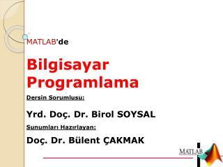 MATLAB ' de Bilgisayar Programlama Dersin Sorumlusu: Yrd.  Doç. Dr.  Birol SOYSAL