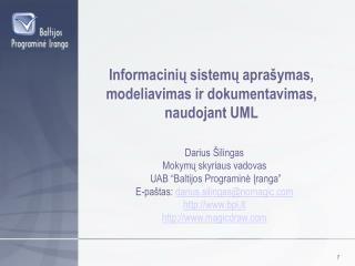 Informacinių sistemų aprašymas, modeliavimas ir dokumentavimas, naudojant UML