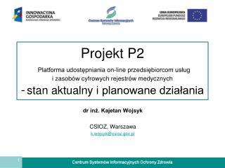 dr inż. Kajetan Wojsyk CSIOZ, Warszawa k.wojsyk@csioz.pl