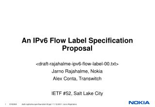 An IPv6 Flow Label Specification Proposal