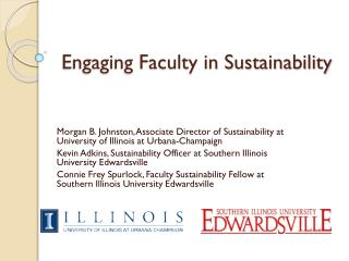 Engaging Faculty in Sustainability