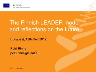 The Finnish LEADER model and reflections on the future