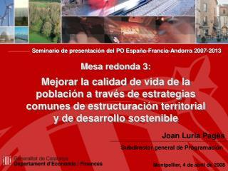Seminario de presentación del PO España-Francia-Andorra 2007-2013 Mesa redonda 3: