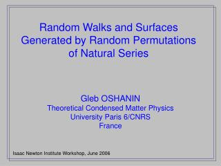 Random Walks and Surfaces Generated by Random Permutations of Natural Series