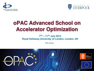 oPAC  Advanced School on Accelerator  Optimization