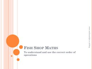 Fish Shop Maths
