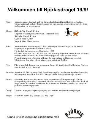 Välkommen till Björkisdraget 19/9!