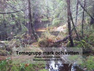 Temagrupp mark och vatten Dialog om miljöhänsyn Slutseminarium 27/2 2013
