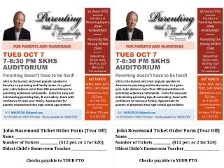 SK District PTO  presents  the return of  Parenting Expert, JOHN  ROSEMOND! Parenting the