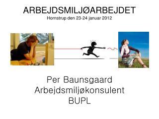 ARBEJDSMILJØARBEJDET Hornstrup den 23-24 januar 2012 Per Baunsgaard Arbejdsmiljøkonsulent  BUPL