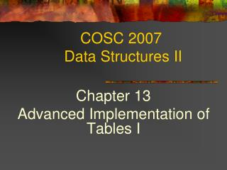 COSC 2007  Data Structures II