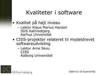 Kvaliteter i software