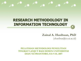RESEARCH METHODOLOGY IN INFORMATION TECHNOLOGY