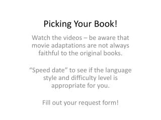 Picking Your Book!
