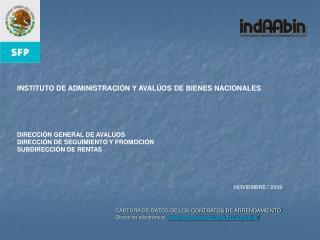 CAPTURA DE DATOS DE LOS CONTRATOS DE ARRENDAMIENTO Direcci n electr nica:  indaabin.gob.mx