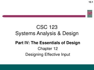 CSC 123 Systems Analysis & Design