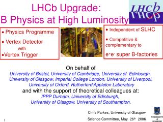 LHCb Upgrade:  B Physics at High Luminosity