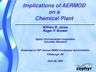 Implications of AERMOD on a Chemical Plant