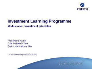 Investment Learning Programme Module one - Investment principles