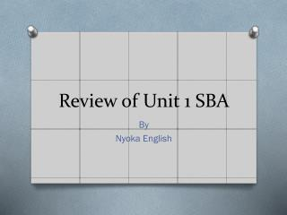 Review of Unit 1 SBA