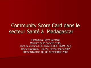 Community Score Card dans le secteur Santé à  Madagascar