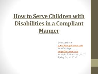 How to Serve Children with Disabilities in a Compliant Manner