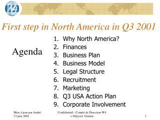 First step in North  America in Q3 2001
