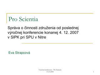 Pro Scientia