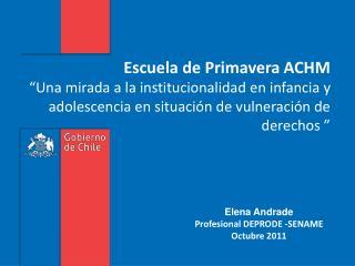 Elena Andrade  Profesional DEPRODE -SENAME Octubre 2011