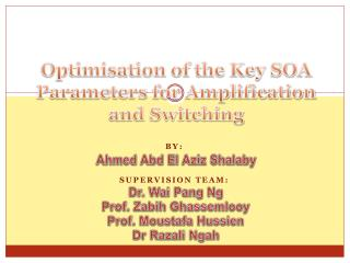 Optimisation of the Key SOA Parameters for Amplification and Switching