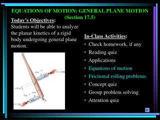 EQUATIONS OF MOTION: GENERAL PLANE MOTION (Section 17.5)