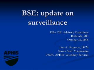 BSE: update on surveillance
