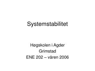 Systemstabilitet