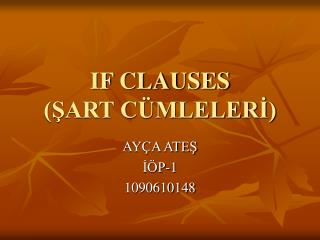 IF CLAUSES SART C MLELERI
