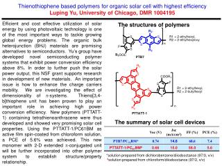 Thienothiophene based polymers for organic solar cell with highest efficiency Luping Yu, University of Chicago, DMR 1004