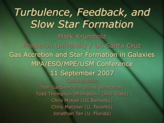 Turbulence, Feedback, and Slow Star Formation