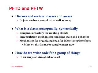PFTD and PFTW