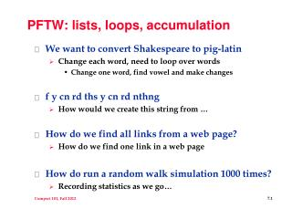 PFTW: lists, loops, accumulation