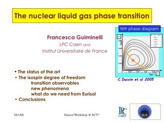 The nuclear liquid gas phase transition