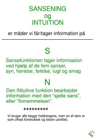 SANSENING og INTUITION