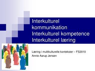 Interkulturel kommunikation Interkulturel kompetence Interkulturel læring