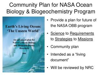 Provide a plan for future of the NASA OBB program